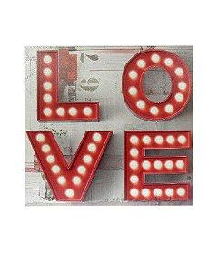 Quadro Tela Impressa Love com LEDs 60x60cm