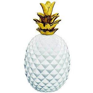 Abacaxi Decorativo em Cerâmica 26cmx13,5cm Mart Collection Branco/Dourado
