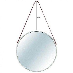 Espelho Redondo Decorativo Metal 75,5cmx45,5cm Mart Collection Off White