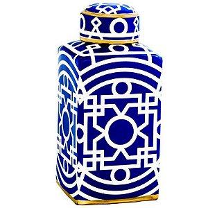 Potiche Decorativo em Cerâmica Marroquino 31,5cmx14,5cmx14,5cm Mart Collection Azul e Branco