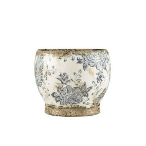 Cachepô Floral em Cerâmica Quing 13,5cmx16cm Mart Collection Branco