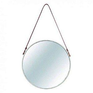 Espelho Redondo Decorativo Metal 40,5cmx40,5cm Mart Collection Off White