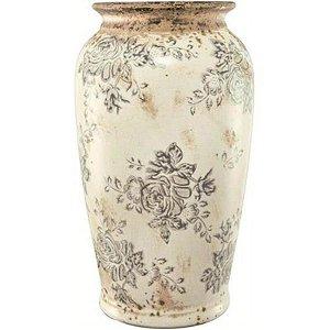 Vaso Decorativo em Cerâmica Han Florido 28,5cmx16,5cm Mart Collection Branco