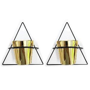 Kit Vaso Dourado de Cerâmica com suporte para parede - Mart 09510