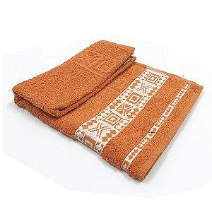 Toalha De Rosto Jacquard Nomade - Cor Laranja E Branco 47x77 cm