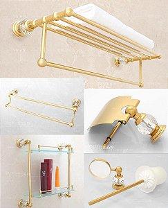 Conjunto Ouro de Luxo para Banheiro 5 Peças