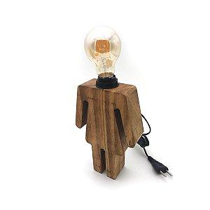 Luminária de mesa em madeira - Menina