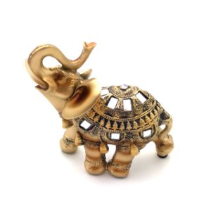 Enfeite elafante dourado em resina