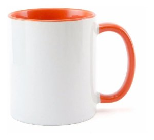 Caneca branca com interior laranja personalizada