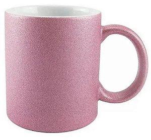 Caneca rosa glitter personalizada p/ frases