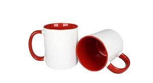 Caneca branca c/ interior vermelho Personalizada