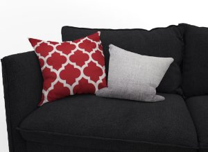 Composição de 2 Capas de almofadas, vermelha e cinza