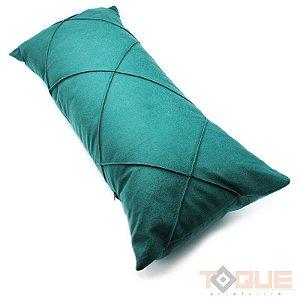 Capa de almofada drapeada em linho - verde
