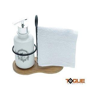 Porta Sabonete Liquido prata com Toalha