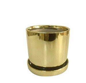 Cachepot em cerâmica Shiny Dourado