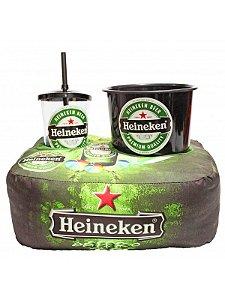 Kit Almofada Porta Pipoca Heineken