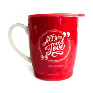 Caneca cerâmica vermelha - All you need is Love