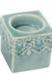Castiçal Cubo Porcelana Branco