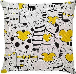 Capa de Almofada Amarela Gatos