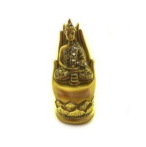 Mão buda de resina dourado 14cm