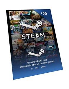 Steam - Cartão Pré Pago R$ 30 Reais