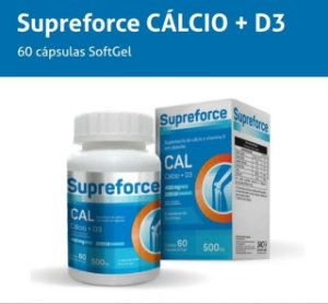 CÁLCIO 500 MG + VITAMINA D3 C/60 CAPS GEL (SUPREFORCE)