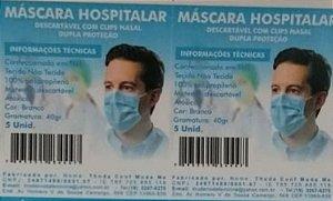MASCARAS TNT 40 G DUPLA C/5 UNIDADES