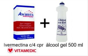 IVERMECTINA 6MG CX 4 COMP* + ALCOOL EM GEL 500 ML