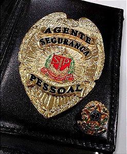 Distintivo Carteira Couro Agente De Segurança Pessoal Brinde Bótom