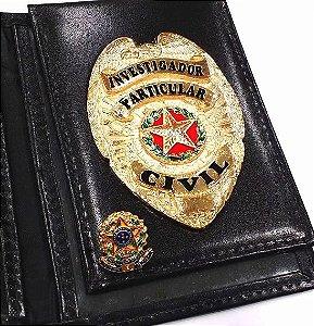Distintivo Porta Funcional Investigador Particular Civil Folheado A Ouro Brinde Bótom