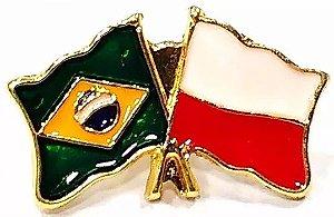 Bótom Pim Broche Bandeira Brasil X Polônia Folheado A Ouro