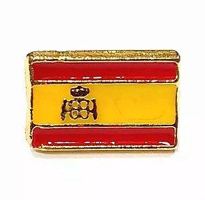 Bótom Pim Broche Bandeira Espanha 13x9mm Folheado A Ouro