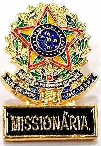 Pim Bótom Broche Pin Missionária Cristão Evangélico Folheado A Ouro