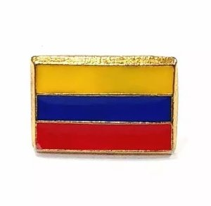 Bótom Pim Broche Bandeira Colômbia 13x9mm Folheado A Ouro