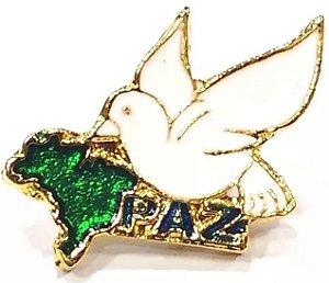 Pim Bótom Broche Pin Pomba Da Paz Cristão Folheado A Ouro