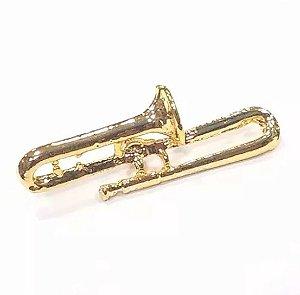 Bótom Pim Broche Trompete De Vara 32mm Instrumento Musical Folheado A Ouro