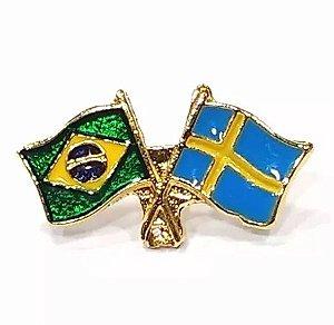 Bótom Pim Broche Bandeira Brasil X Suécia Folheado A Ouro