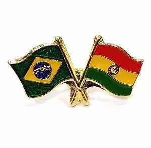 Bótom Pim Broche Bandeira Brasil X Bolívia Folheado A Ouro