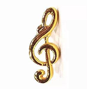 Bótom Pim Broche Clave De Sol Musical 17mm Folheado A Ouro