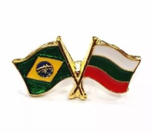 Bótom Pim Broche Bandeira Brasil X Bulgária Folheado A Ouro