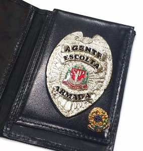 Distintivo Porta Funcional Agente De Escolta Armada São Paulo Folheado À Prata Brinde Bótom