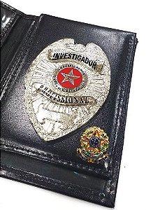 Distintivo Porta Funcional Investigador Profissional Folheado À Prata Brinde Bótom