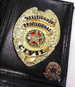 Distintivo Carteira Couro Investigador Profissional Civil Brinde Bótom