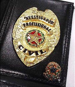 Distintivo Porta Funcional Investigador Profissional Civil Folheado A Ouro