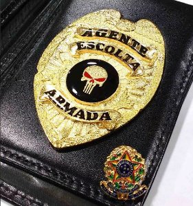 Distintivo Carteira Couro Agente De Escolta Armada Folheado A Ouro Brinde Bótom