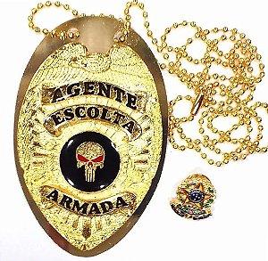 Distintivo Agente De Escolta Armada Folheado A Ouro Brinde Bótom