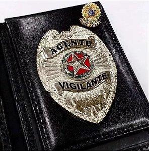 Distintivo Carteira Couro Agente Vigilante Folheado À Prata Brinde Bótom