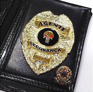 Distintivo Carteira Couro Agente De Segurança Folheado A Ouro Brinde Bótom