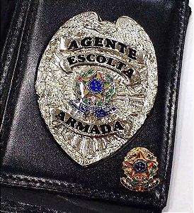 Distintivo Carteira Couro Agente De Escolta Armada Folheado À Prata Brinde Bótom