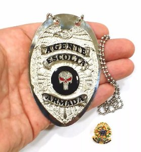 Distintivo Agente Escolta Armada Folheado À Prata Brinde Bótom